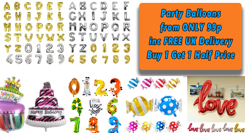 Party Balloons From ONLY 99p Including FREE Delivery