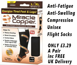 Miracle Copper Anti-Fatigue Compression Unisex Flight Travel Socks Anti Swelling DVT Support