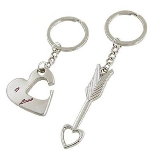 Cupid Arrow Love Heart Silver Metal Couple Keyrings Lovers Puzzle Key Chains Novelty Gift Present