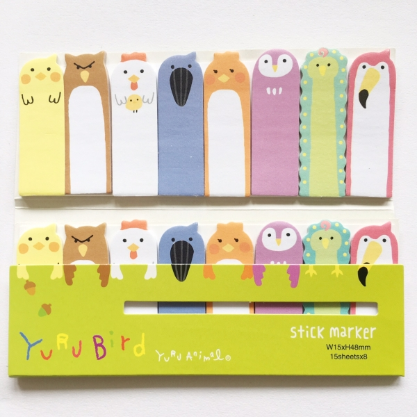 Assorted Birds 120 Sheets Mini Cute Novelty Sticky Notes Pad Bookmark Memo Index Tab Page Markers