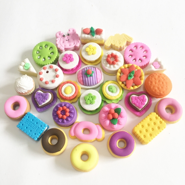 Cakes Biscuits Macaroons Dessert Cute Puzzle Erasers Novelty Fun Kids Rubbers Party Gift Bag Fillers