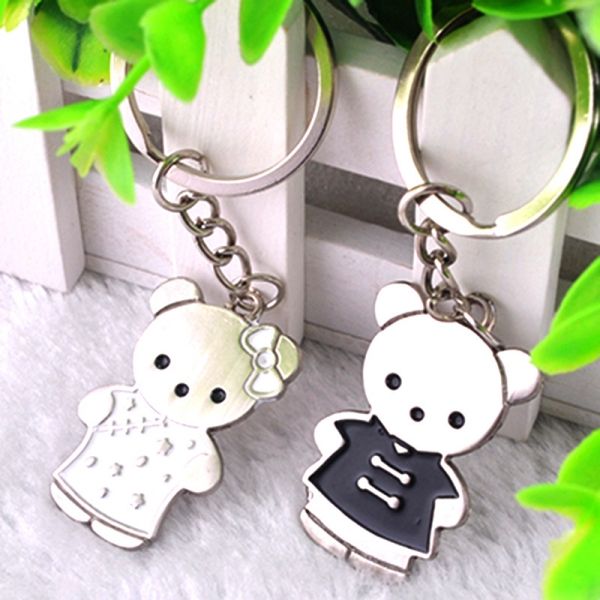 Mr Mrs Bear Animals Silver Metal Couple Keyrings Lovers Puzzle Key Chains Novelty Gift Present