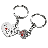Couple Keyrings Lovers Puzzle Keyring Silver Metal Key Chains