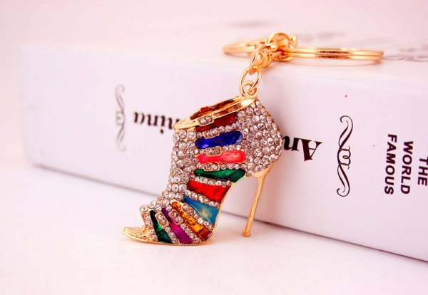 Colorful High Heel Shoe Crystal Diamante Rhinestone Bag Charms Handbag  Keyrings Pendant Key Chain 86177fd7e