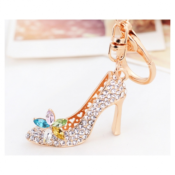 High Heeled Shoe Shaped Crystal Diamante Rhinestone Bag Charms Handbag  Keyrings 25d1b8404