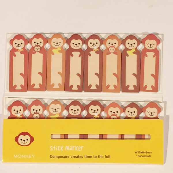 Monkey Family Mini Cute Sticky Notes Novelty Sticky Note Pad Bookmark Memo Index Tab Page Markers
