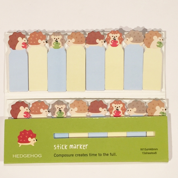 Adorable Hedgehogs Mini Cute Sticky Notes Novelty Sticky Note Pad Bookmark Memo Index Tab Page Marke