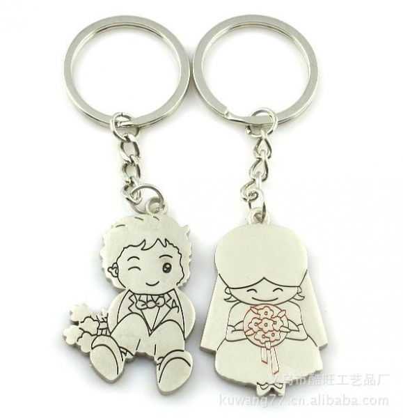 Wedding Groom Bride Silver Metal Couple Keyrings Lovers Puzzle Key Chain Novelty Gift Present