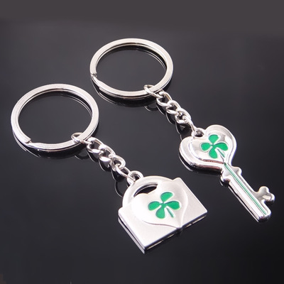 Lock Key Engraved Clovers Silver Metal Couple Keyrings Lovers Puzzle Key Chains Novelty Gift Present
