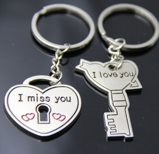 Love Heart Lock And Key Silver Metal Couple Keyrings Lovers Puzzle