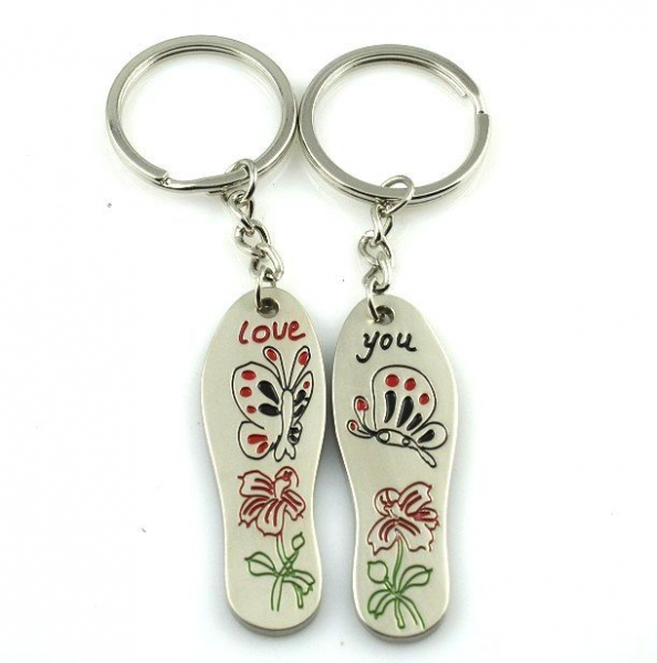 Slippers Butterfly Flower Engraved Love You Silver Metal Couple Keyrings Lovers Puzzle Key Chains