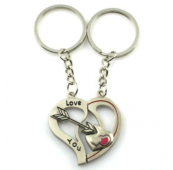 Love Heart Cupid Arrow Engraved Silver Metal Couple Keyrings Lovers Puzzle Key Chains Novelty Gift