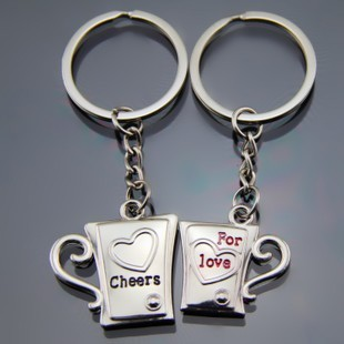 Beer Cups Mugs Love Hearts Engraved Silver Metal Couple Keyrings Lovers Key Chains Novelty Gift