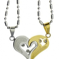Stainless Steel Puzzle Pendant Couple Necklace Set Lovers Gift