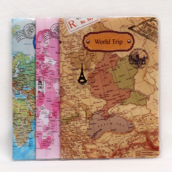 Vintage world map cute passport cover travel id holder wallet vintage world map cute passport cover travel id holder wallet protector case with card ticket pouch gumiabroncs Gallery