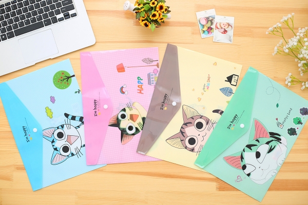 Cute Kitten Cats Fashion A4 Plastic Document Wallets File Folders Filing Paper Storage