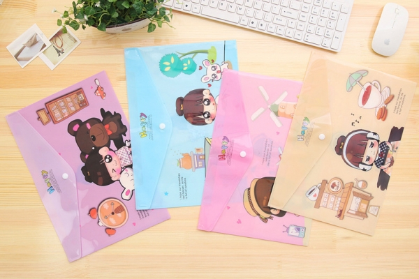 Adorable Girl Fashion A4 Plastic Document Wallets File Folders Filing Paper Storage