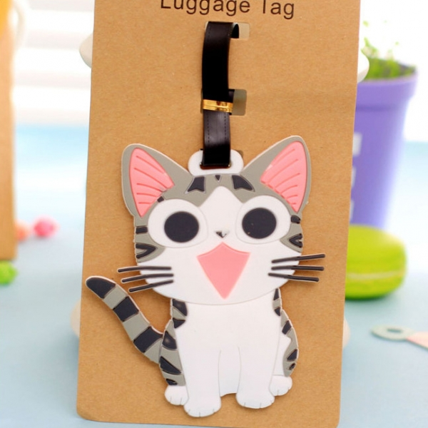 Grey Kitten Cat Fashion Luggage Tags Cute Holiday Suitcase Labels Travel Bag Identity ID