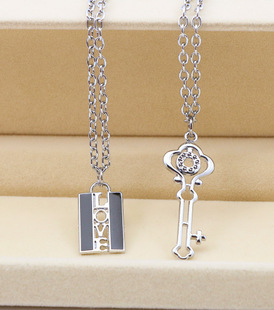 Love Lock Vintage Key Lovers Pendant Couples Puzzle Necklace Set Stainless Steel Jewellery Gift