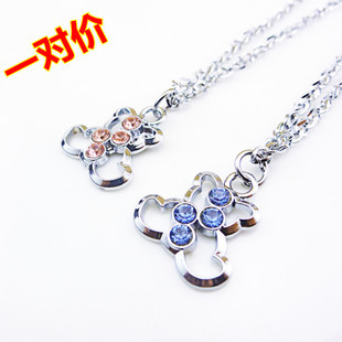 Diamante Bears Lovers Pendant Couples Puzzle Necklace Set Stainless Steel Jewellery Gift