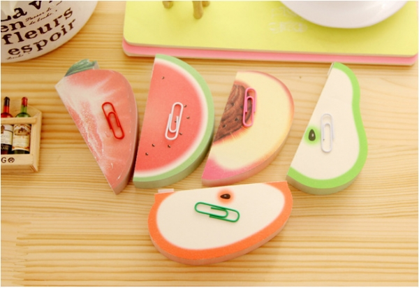 Fruits Vegetables 3D Shape Cute Sticky Notes Novelty Bookmark Memo Index Tab Page Markers