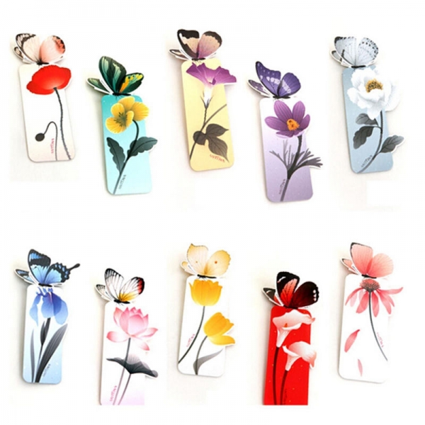 Cute Butterfly On Flowers Shape Exquisite Bookmarks Book Markers Gift For Readers
