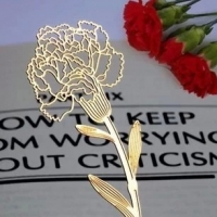 Gold Carnation Flower Floral Metal Cute Bookmarks For Books Book Markers Readers Gift