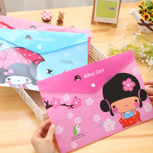Cute Japanese Girl Fashion A4 Plastic Document Wallets File Folders Filing Paper Storage