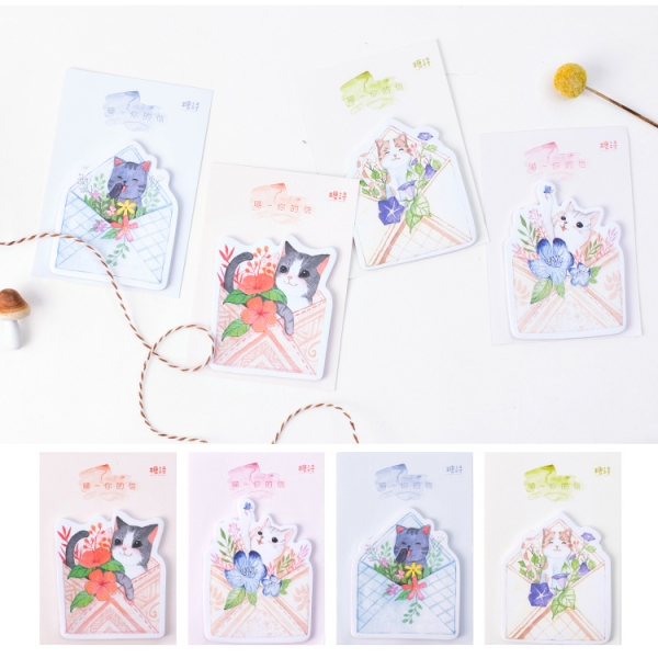 Cute Kitten Cats In Envelope With Flowers Sticky Notes Pad Bookmark Memo Index Tab Page Markers