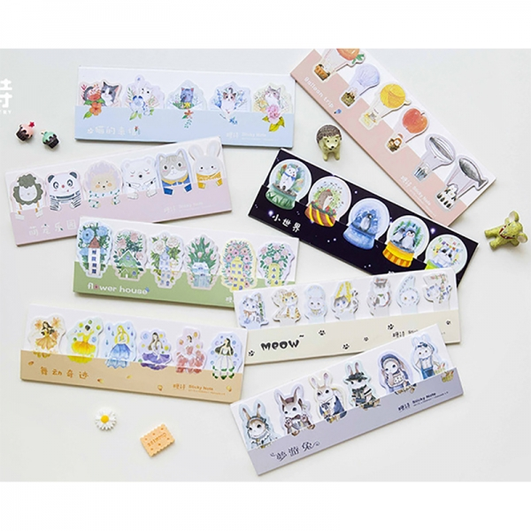 Cute Kitten Cats Rabbits Animals Flowers Novelty Sticky Notes Pad Bookmark Memo Index Page Markers