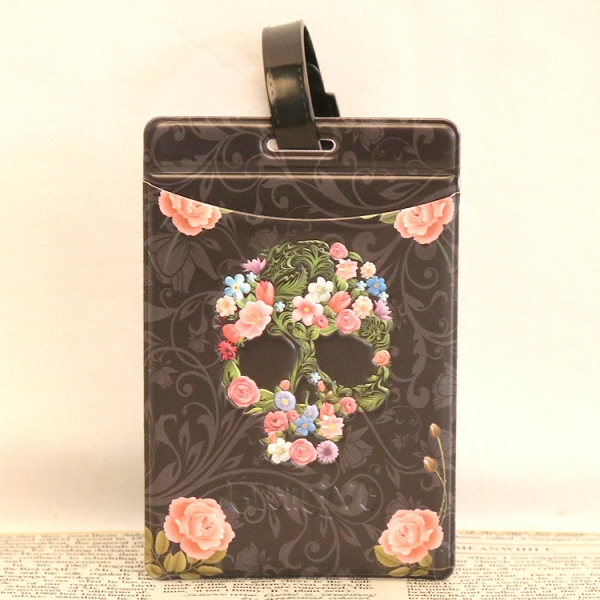 Skull Flowers Fashion Luggage Tags Cute Holiday Suitcase Labels