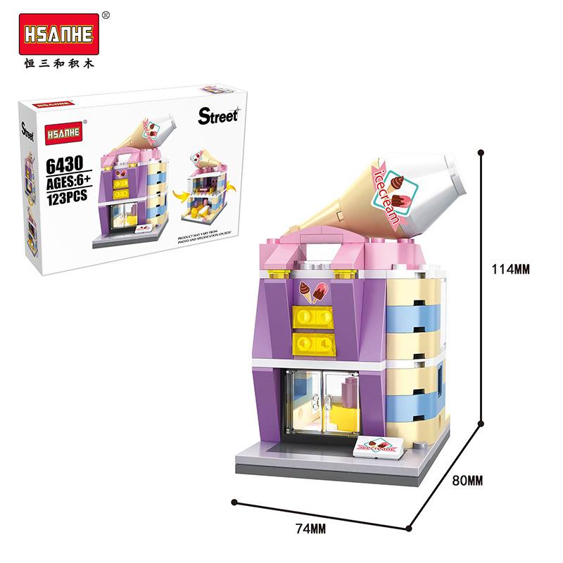Ice cream shop building bricks toys construction blocks for Ice block construction