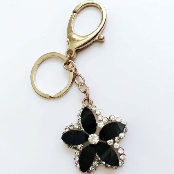 Black Flower Crystal Diamante Rhinestone Bag Charms Handbag Keyrings Pendant 605cc779c