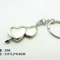 Silver Love Heart Cupid Arrow Metal Keyring Bag Charm Key Ring Keychain