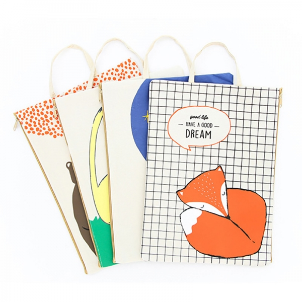 Cute Animals Fashion A4 Canvas Document Wallets File Folders Pencil Case Make Up Bags