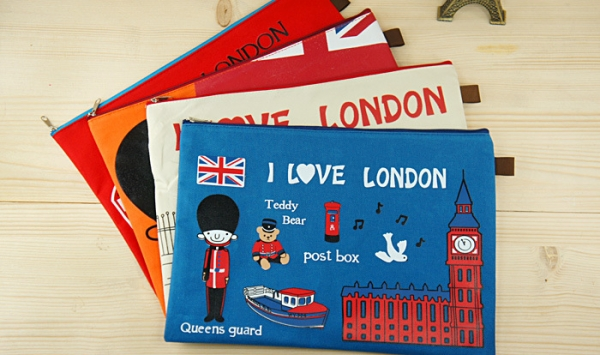 I Love London Royal Guard Canvas Make Up Bag Pencil Case Fashion A4 Document Wallets File Folders
