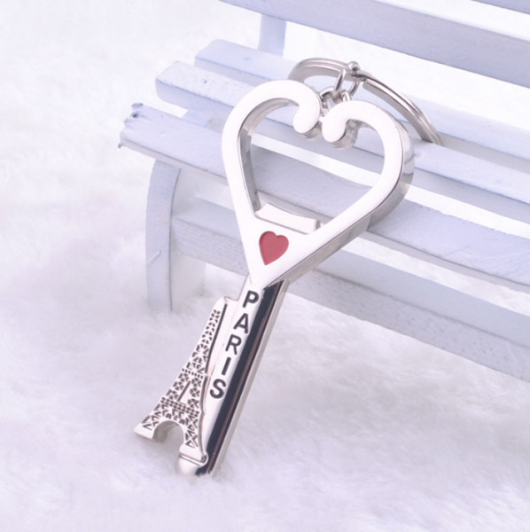 Paris Eiffel Tower Silver Metal Bottle Opener With Keyring