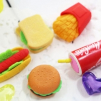 A set of 5 with chips burger hotdog fizzy drink and sandwich
