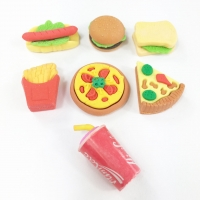 A Set of 7 with chips burger hotdog fizzy drink sandwich and 2 pizzas