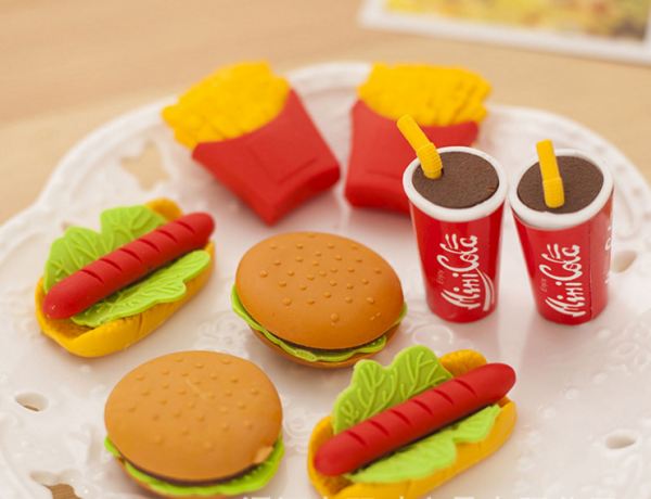 Fast Food Erasers Burger Sandwich Hotdog Chips Fizzy Drink Pizza Ice Cream Ice LollyRubbers